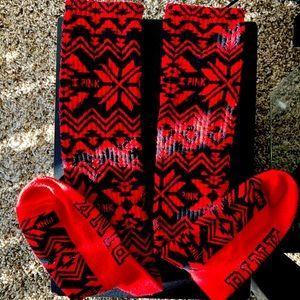 Victoria's Secret PINK Red and Black Tube Socks